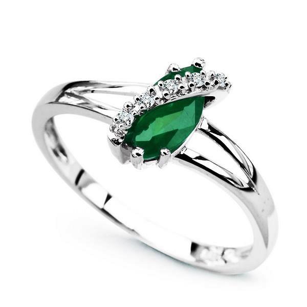6663a55ad8924b pierścionek białe złoto szmaragd diamenty