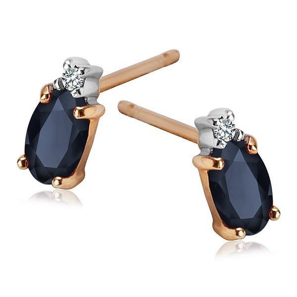 Eleganckie, złote kolczyki z szafirmai i diamentami